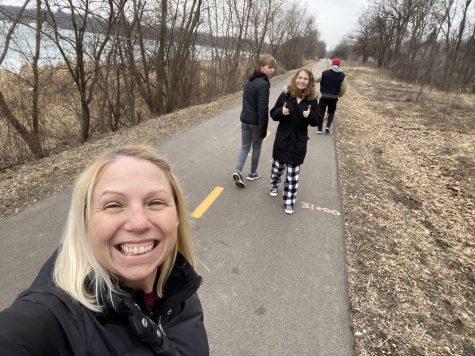 Mrs. Wallace enjoying a family walk